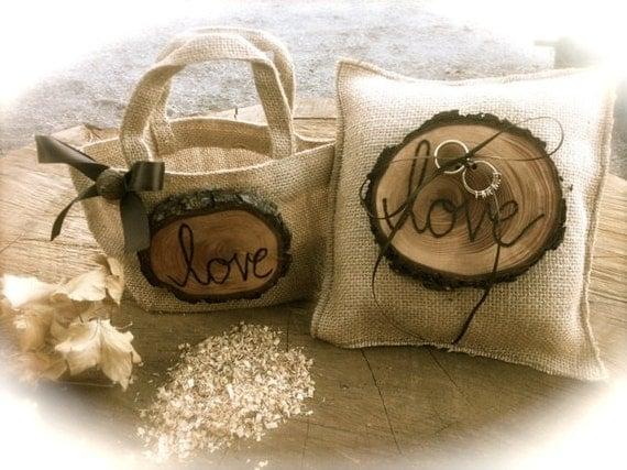 Flower Girl Baskets Fall : Rustic wedding ring bearer pillow flower girl by momoradrose