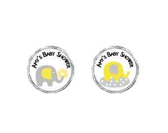 Personalized Yellow & Gray ELEPHANT baby Girl Shower Round Labels - sheet of 108