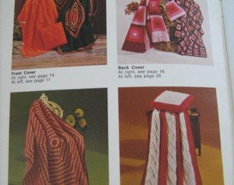 VINTAGE, AFGHANS, BEEHIVE,  crochet knitting,  pattern book, 10 different,