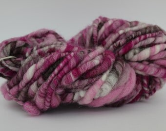 Hand Spun Bulky  Wool Yarn Pink Infusion Color