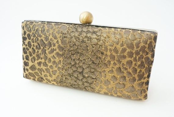 Gorgeous Gold Bronze Box Clutch Handbag - Leopard Print Evening/Formal Minaudiere Purse - Includes Chain - Ready to Ship