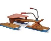 Vintage Snow Scooter by Adirondack Peters, Tricycle Like Snow Scooter on Skis, Snow Sled Skibike Skike Skicycle FREE SHIPPING