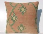 "FREE Shipping / Home Decor,Turkish Kilim Area Rug Pillow Cover 16"" X 16"",Decorative Kilim Pillow,Vintage Rug Pillow,Throw Pillow"