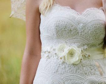 Ivory & Gold Bridal Flower Dress Sash. Lace Bridal Flower Sash.