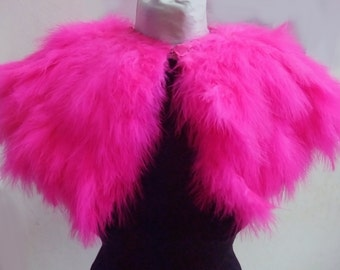Pink  feathers shall.Shoulders  Feathers caplete in Turquoise . gothic decadence  bourlesque costume ,vintage capelet .
