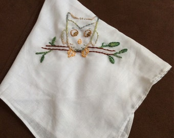 Owl on White Hankie