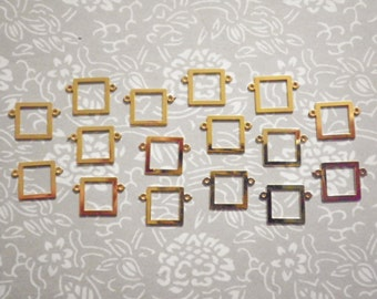 14 Vintage Goldplated 10mm Picture Frame Connectors with 2 Holes