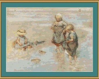 Children Playing Boat Cross Stitch Pattern