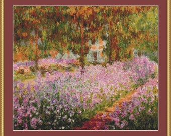 Irises In Monet's Garden Cross Stitch Pattern