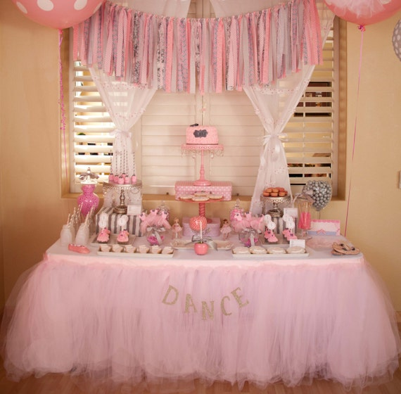 Ballerina Party Custom Made Tutu Table Skirt Tulle
