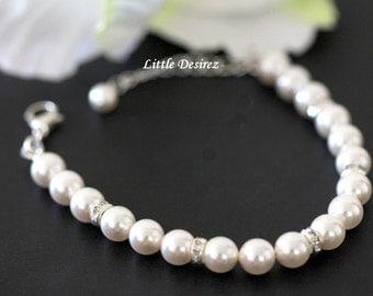 Bridal Pearl Bracelet Single Strand Pearls Wedding Jewelry Rhinestone Spacers White Ivory Bridesmaids Gifts Classic Bridal Jewelry HELEN