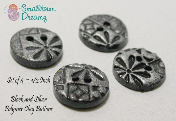 Handmade Black and Silver Polymer Clay  Buttons (Set of 4)