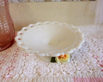 Vintage Large White or Milk Glass Footed Bowl Open Lace Edge Pattern Anchor Hocking Colony B231