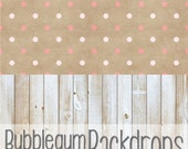 Pink Polka & Blonde Wood All in One - Vinyl Photography  Backdrop Photo Prop
