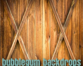 Barn Doors - Exclusive to Bubblegum Backdrops - Vinyl Photography Backdrop Floordrop Prop