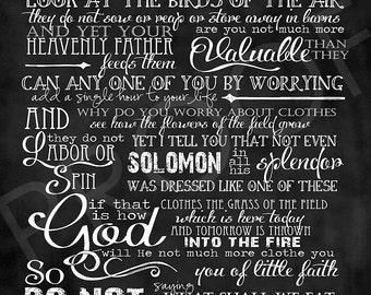 Scripture Art  - Matthew 6:25-33 Chalkboard Style long format