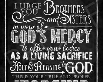 Scripture Art - Romans 12:1 Chalkboard Style