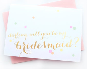 SALE - set of 3 - gold foil stamp wedding party confetti card - will you be my bridesmaid or maid of honor - wedding party invite