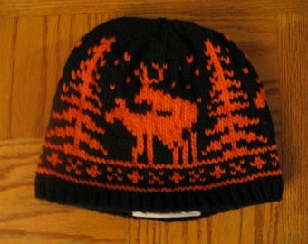 Pre-made Fornicating Deer Knit Hat - Black with Orange