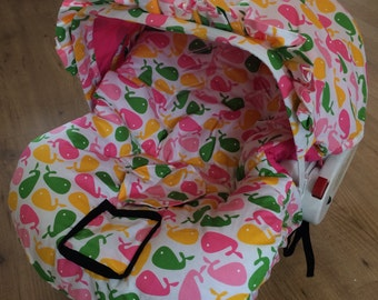 Hula Moon Infant Car Seat Cover in Pink Whales, Car Seat Cover