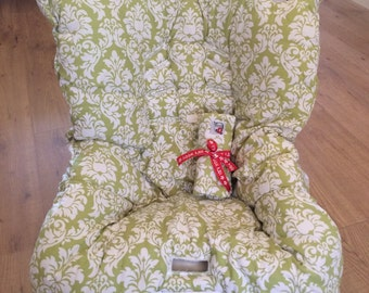 Hula Moon Toddler Car Seat Cover in Green Damask, Toddler Car Seat Cover, Car Seat Cover