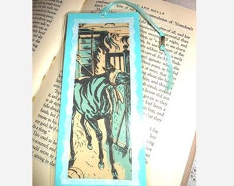 Black Beauty Vintage Book Illustration Bookmark - Laminated double sided