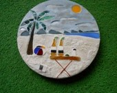 """Stained Glass Mosaic Garden Stepping Stone with Beach Scene Palm Tree, Beach Ball, Bottles of Beer w/ Salt & Lime  12"""""""