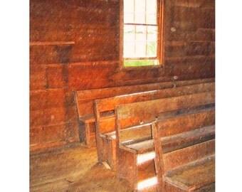 Giclee PRINT of Old Wooden Church Pews Window Light Graffiti 11x14 - Empty Pews - Korpita