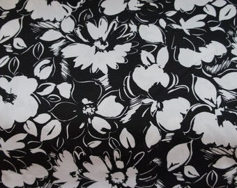 Flowers in Black and White Cotton Pique