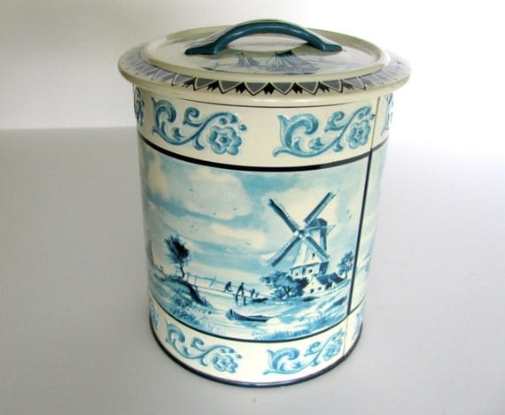 Decorative Tin Canister Delft Blue Ivory Windmill Germany