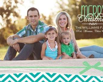 Custom Chevron and Burlap Photo Christmas Cards