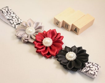 Newborn/baby/children/flower girl headband - Red/Black Damask