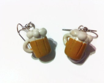 Beer Mug Earrings, Frosty beer dangles, polymer clay charms, st. patricks day, gag gifts, silly jewelry, beer jewelry, gift ideas, handmade