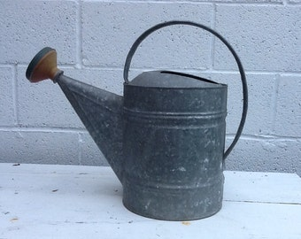 Vintage Watering Bucket Primitive Metal Watering Pail