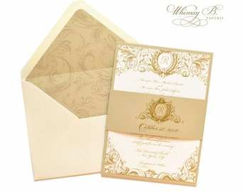 Vintage Wedding Invitations, Gold and Champagne Wedding Invitations, Victorian Wedding Invitation, Elegant Invites, Wedding Invitation