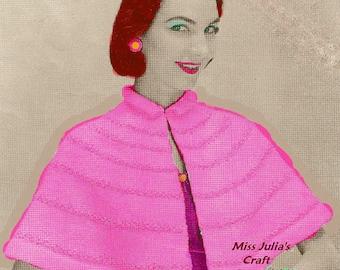 Almost FREE Vintage Woman's Formal Glarmour Short Cape Wrap 333  PDF Digital Knit Pattern