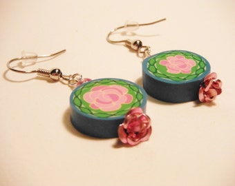 Beauty and the Beast Inspired Polymer Clay rose flower Dangle earrings