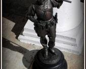 Vintage Antique Metal Statue of St. George the Dragonslayer