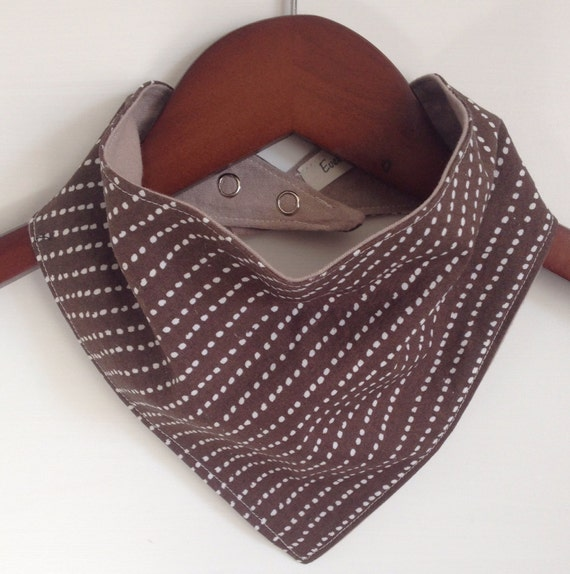 Brown and white dotted line pattern baby scarf bib bandana bib on etsy