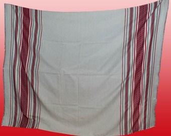 "Ukrainian folk tablecloth ""Gutsulka"". Ukrainian vyshyvanka. Machine embroidery red and white. New, linen, cotton"
