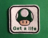 """Nintendo 1up """"Get A Life"""" Iron-on Patch"""