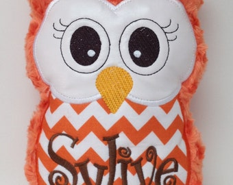 Personalized Orange Swirl Plush & Orange Chevron Stuffed Owl Reading Buddy Pillow, Soft Toy
