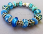 Teal Turquoise European Bracelet - Teal, Turquoise, Blue Charm Bracelet With Lampwork Glass, Rhinestone And Enamel Beads