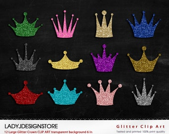 GLITTER Crown Clip Art - 12 Digital Clipart Glitter Crowns for invitations, scrapbooking- PNG, gold, silver, pink, red, blue, violet