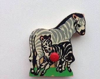 Vintage puzzle piece magnet / Zebra / magnet/ Simplex magnet