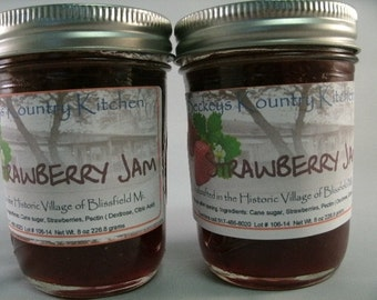 Two Jars of Strawberry jam Homemade by Beckeys Kountry Kitchen jelly fruit spread preserves