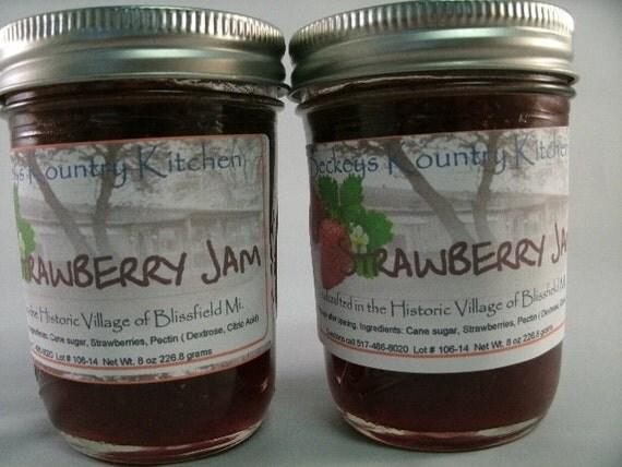 Two Jars of Strawberry jam Homemade jelly fruit spread handmade fruit preserves