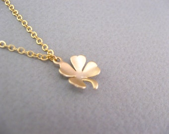 Gold Clover Necklace Four Leaf Clover Necklace, Lucky Necklace Lucky Jewelry Gifts Good Luck Necklace Bridesmaid Jewelry Bridesmaid Necklace