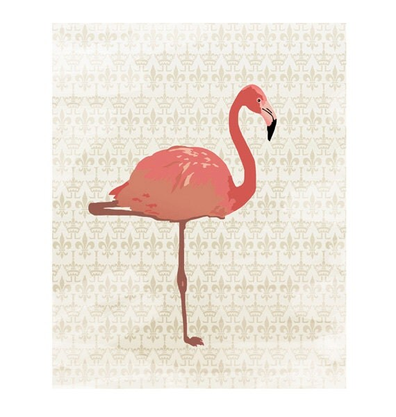 Pink flamingo on renaissance pattern vintage 8x10 for Deco flamant rose