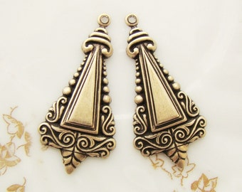 Ornate Victorian Antiqued Brass Ox Stamping Drops Dangles Pendants - 4